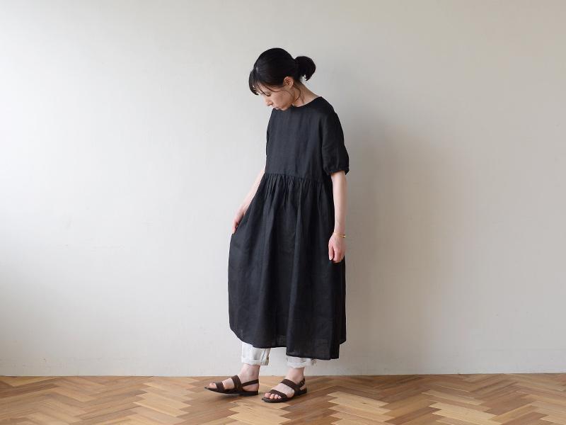 【2020夏物】 fog linen work(フォグリネンワーク)パキタ ワンピース ブラック
