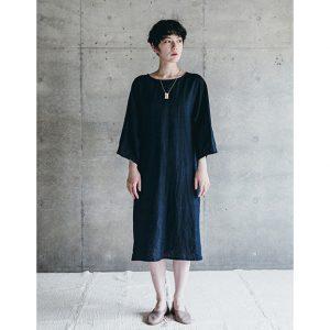 【2020秋物】 fog linen work(フォグリネンワーク) ライナ ワンピース ネイビー [LWA254-104]